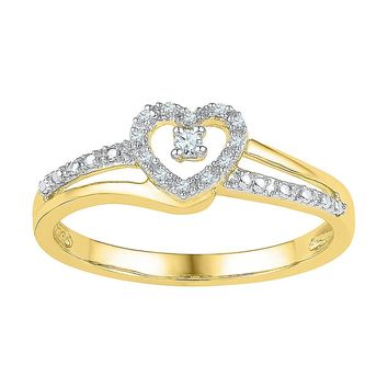 10kt Yellow Gold Womens Round Diamond Heart Love Promise Bridal Ring 1/20 Cttw