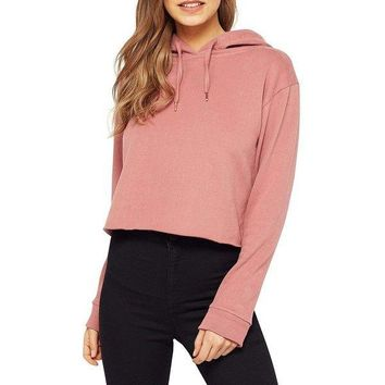 Crop Top Hoodie Sweatsshirt Long Sleeve Blush