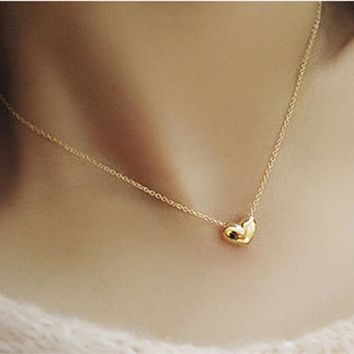 Gold Heart Bib Statement Chain Pendant Necklace