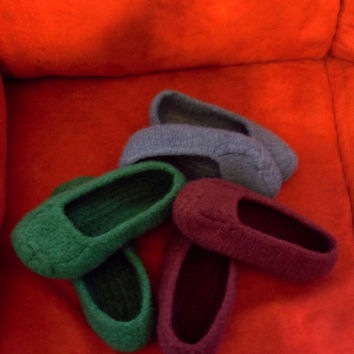 Knit Felt Slippers Women Men Children
