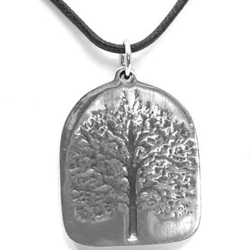 Tree of Life Axis Mundi Center of Being Pewter Pendant Charm Necklace