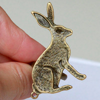 vintage cute rabbit adjustable ring by Sevinoma on Etsy