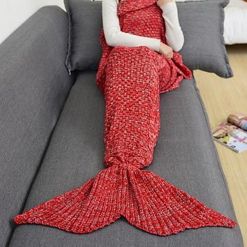 Winter Spring Warm Handmade Knitted Mermaid Sofa Blanket Home Baby Children Adult Red