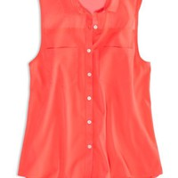 AEO Factory Women's Sleeveless Chiffon Button Down