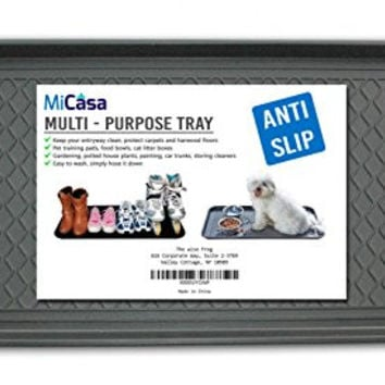 """Multi-Purpose Anti-Slip Tray and Mat for Boots, Dog Food Bowls, Cat Litter, Painting, Shoes, Gardening, Laundry, Kitchen, Garage, Entryway. Protect Your Floor, Utility Tray. 30"""" x 15"""" x 1.2"""""""