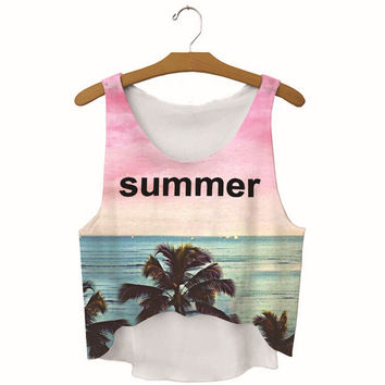 Womens Summer Beach Printed Show Hilum Tank Top Sports Vest Summer Gift - 03