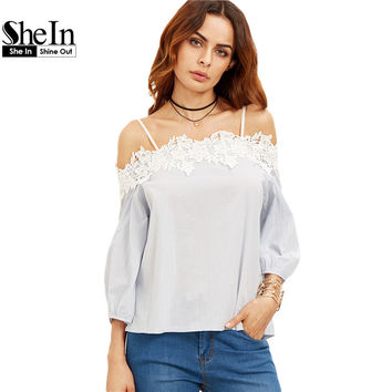 SheIn Womens Tops and Blouses For Summer Ladies Cold Shoulder Appliques Three Quarter Length Lantern Sleeve Blouse