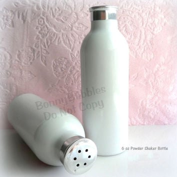 5 Metal Body Powder Bottles - 6 oz - white aluminum shaker style
