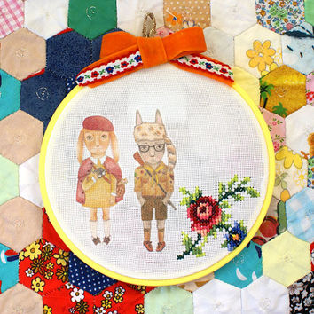 Moonrise Kingdom Bunnies with Vintage Cross Stitch Floral Embroidered Wall Hanging