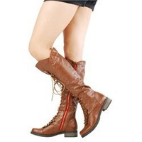 Bamboo Croft17 Chestnut Lace Up Contrast Zipper Riding Boots and Womens Fashion Clothing  Shoes - Make Me Chic
