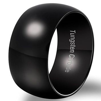 12mm Classic Black Tungsten Carbide Ring Wedding Engagement Domed High Polished Wide Smooth Band