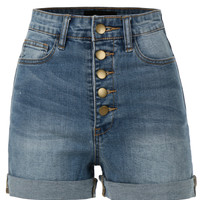 LE3NO Womens Stretchy High Waisted Sailor Denim Shorts with Pockets (CLEARANCE)