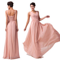 Deep V Neck Chiffon Sexy Women Pleated Bridesmaid Long Evening Dress MAXI Dress