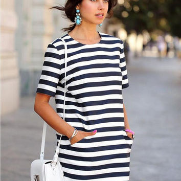 White and Blue Striped Short Sleeve Double Pocket Dress