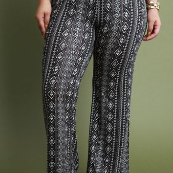 High Waisted Tribal Print Flare Pants