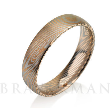 Rose Gold Brushed Mokume Gane - Forged Ring- Damascus Inlay,Mokume Band - Damascus Ring- Two Color Mokume- Mokume Wedding Bands - Mokumegane