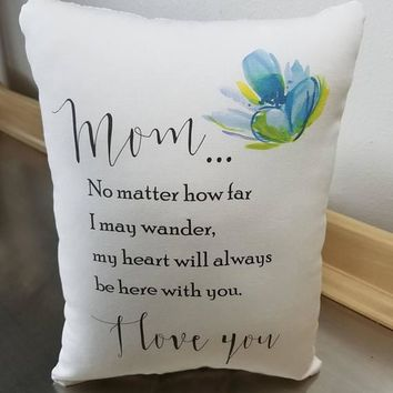 Mom pillow long distance gift mother gift love quote cotton cushion