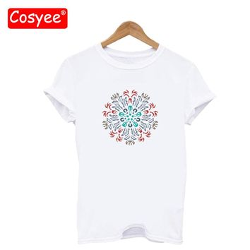 Women's Fashion Floral Print Cotton T-shirts Femme Hipster Harajuku T-shirt Tumblr Tee Shirt Summer Tops Tshirt Plus Size Cosyee