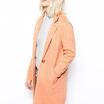 ASOS Coat in Texture with Raw Edge - Coral