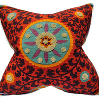 Barclay Butera, Tribal Sunset 22x22 Cotton Pillow, Red, Decorative Pillows