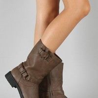 Koma Buckle Round Toe Riding Mid Calf Boot