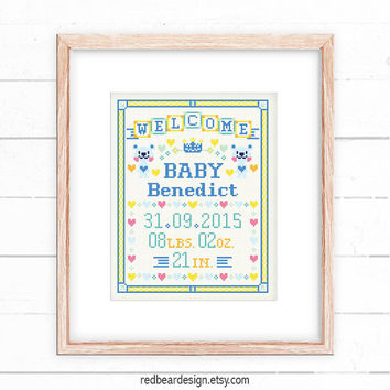 Baby announcement cross stitch pattern - Blue Bear Welcome Baby -Xstitch Instant download-Cute Modern Girl Baby Birth Personalized gift