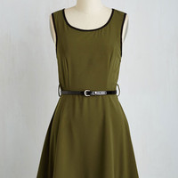 Mid-length Sleeveless A-line Flight of Fancy Dress in Olive