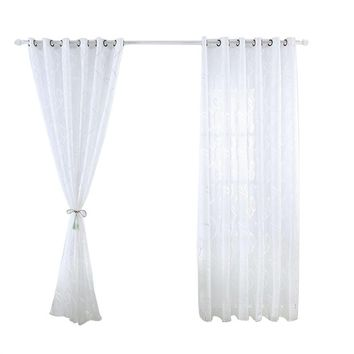 Translucent Tulle Leaves Window Sheer Window Curtains
