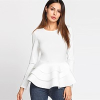 Round Neck Tiered Ruffle Hem Long Sleeve Peplum Blouse White Tiered Layer Plain Top Women Elegant Blouse