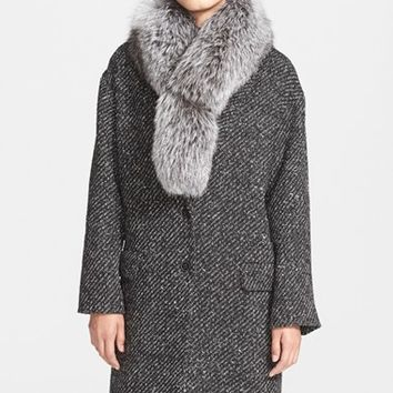 Women's Theory 'Sekary' Wool Blend Coat with Genuine Fox Fur Collar,