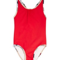 Burberry Girls' Check Trimmed Swimsuit - Sizes 4-6 | Bloomingdales's