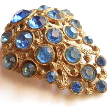 Art Deco Blue Rhinestone Dress Clip, Antique Gold Tone, Vintage