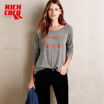 Fashion Casual Loose Long Sleeve Round Necked Alphabets Sweatshirt a13263