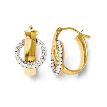 Polished Oval Hoop Earrings in 14k Yellow Gold with Swarovski Crystals