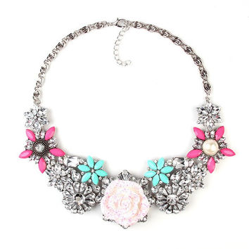 Color Flowers Sweetie Fashion Statement Necklace