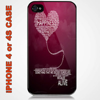 Quotes About Happiness Custom iPhone 4 or 4S Case Cover