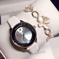 Swarovski Women Fashion Leather Quartz Movement Wristwatch Watch Bracelet Set Two Piece