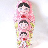 Matryoshka Russian Babushka Plush Cloth Doll Family with black hair and Amy Butler fabrics