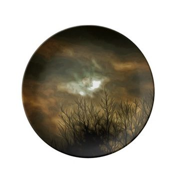 Decorative Porcelain Plate Fall Sky