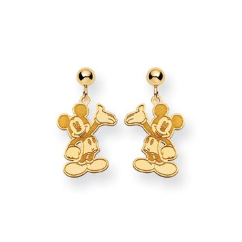 Disney's Waving Mickey Mouse Dangle Earrings in 14k Gold
