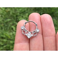 Lace and Square CZ Daith Rook Clicker Hoop