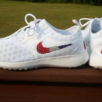 Red White Blue Nikes bling Juvenate authentic nikes swarovski crystals bling summer be