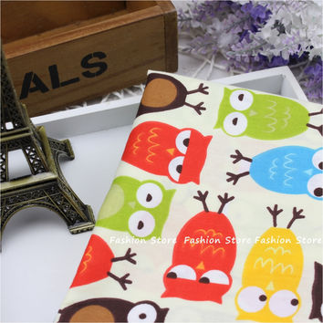 Cartoon Owl Fabric bedding Sheet Cotton Fabric DIY Patchwork Sewing FARBIC 40 *50 cm baby Saliva towel Cloth and hat fabric