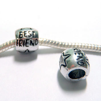 3 pc Best Friend Star Antique Silver Tone European Style Beads Spacer Charms for Bracelet Necklace Lot E1288