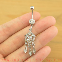 Stunning belly button rings,Boho belly button jewelry,clear crystal navel ring,friendship piercing bellyring,oceantime