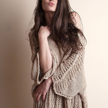 Beige sweater loose / slouchy / oversized made of cotton and bamboo one size handknit for women