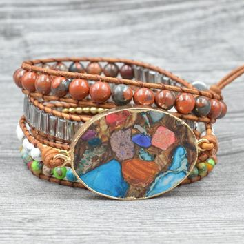 Vintage Multicolor Natural Stone Beads Wrap Bracelet 2019 New Handmade Leather Rope Bracelet Gift Drop Shipping