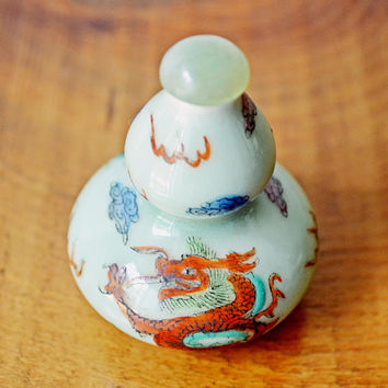 Asian Snuff Bottle, Hand Painted Snuff Bottle, Double Gourd Dragon Bottle