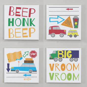 Set of 4 Kids Cars Wall Art - Transportation Decor, Traffic Lights, Trucks Print, Things That Go, Playroom Decor, Kids Wall Art, Car Print