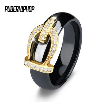 New Retro Crystal Drill Hollow Crown Shaped Black White Ceramic Rings For Women Gold Color Crown Party Wedding Ring Jewelry Gift